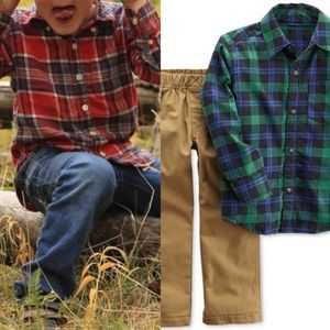 Boys Plaid Tops and Bottoms Outfit Bundle